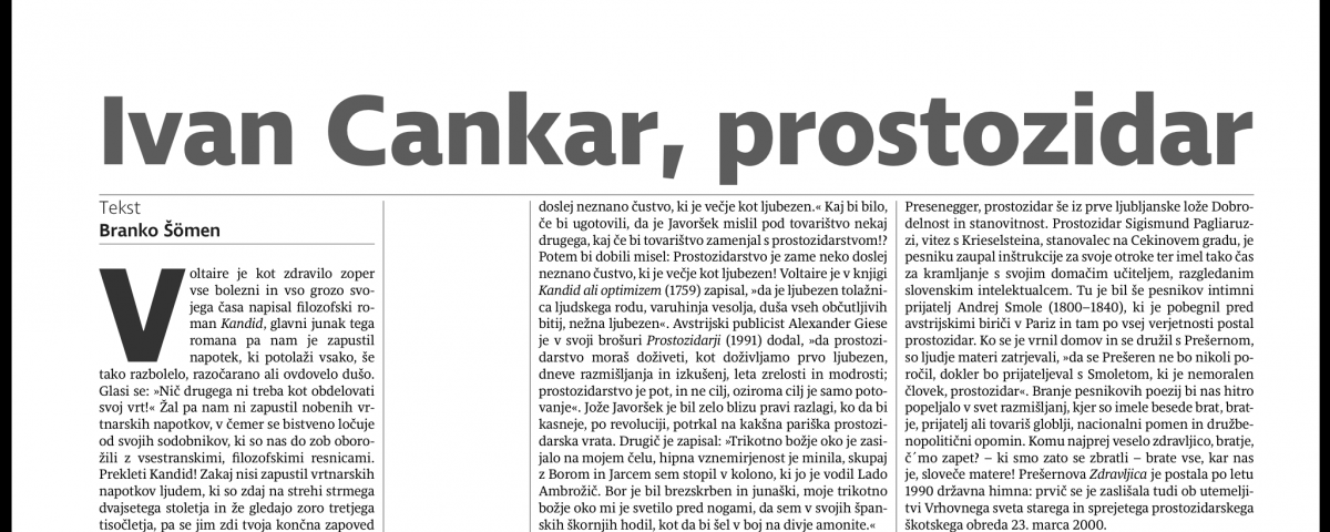 Lep članek Branka Šömna o prostozidarstvu v teh krajih 8 Prostozidarji in prostozidarstvo Velika Loža Slovenije
