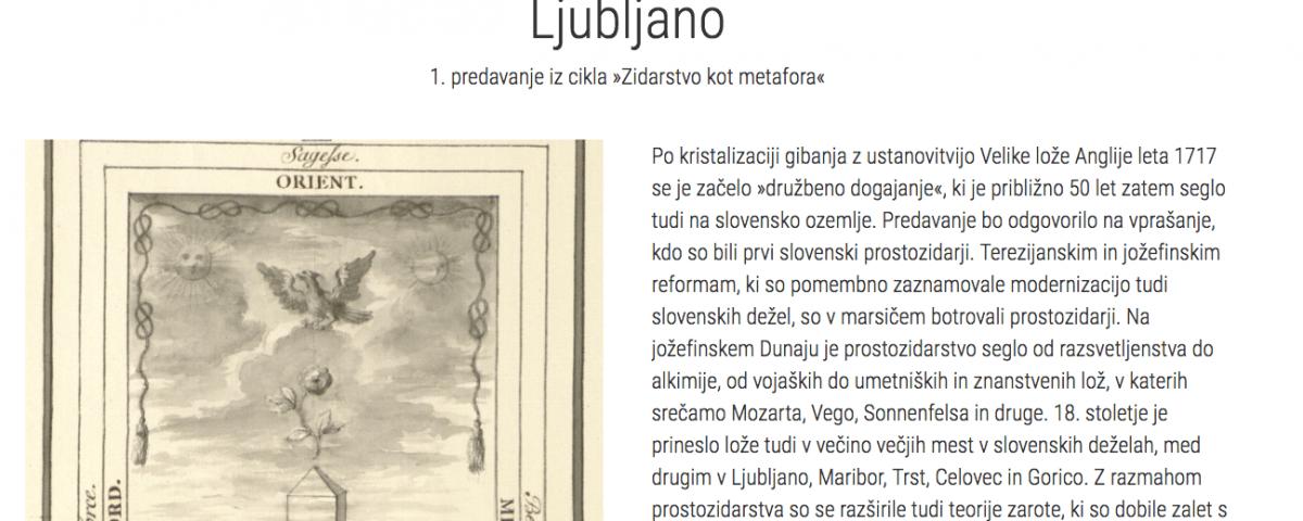 """Cikel predavanj """"Zidarstvo kot metafora"""" 8 Prostozidarji in prostozidarstvo Velika Loža Slovenije"""